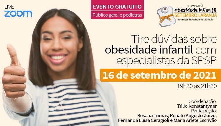 Tire dúvidas sobre Obesidade Infantil com Especialistas da SPSP - Setembro Laranja (Zoom)