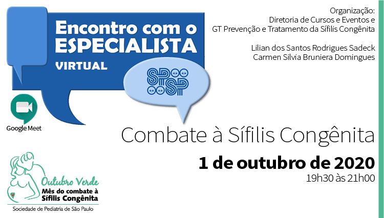 Encontro Virtual com o Especialista - Campanha de Combate a Sífilis Congênita - Outubro Verde